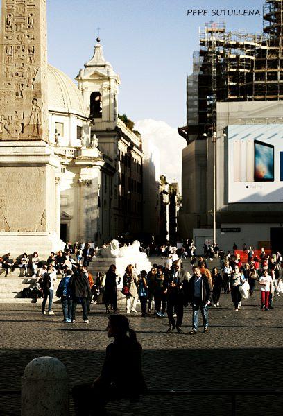 Obelisco de Piazza del Popolo y via del Corso