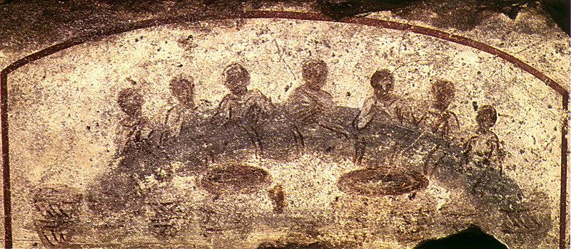 Ágape (primitiva Última Cena). Catacumbas de San Calixto