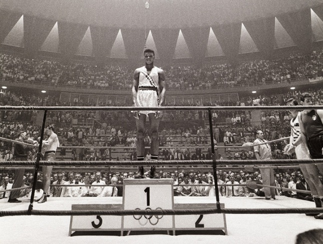 Muhammad Alí como campeón olímpico en Roma 1960
