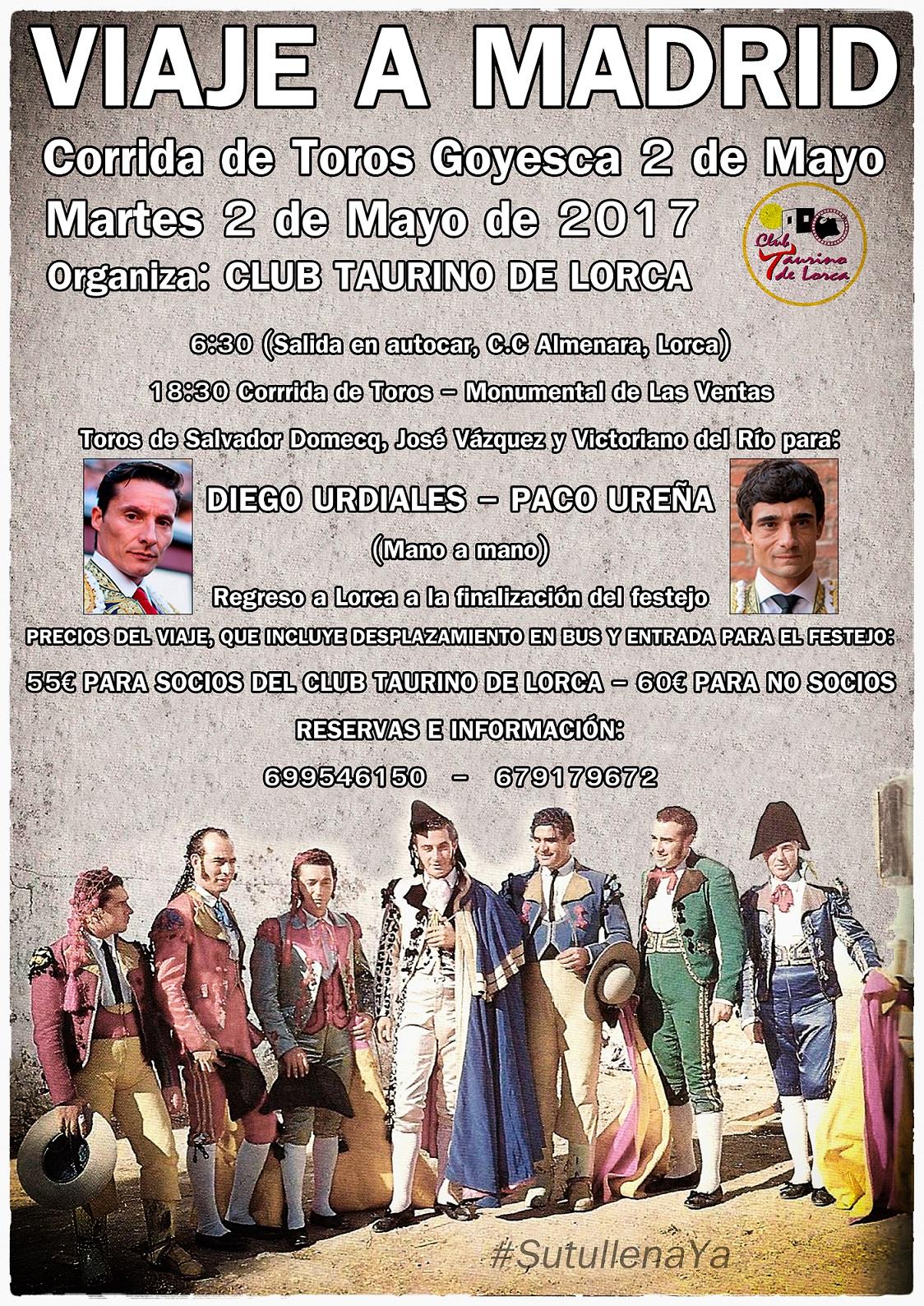 El Club Taurino organiza un viaje para apoyar a Ureña en la 'Goyesca' de Las Ventas
