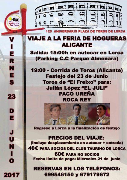 El Club Taurino de Lorca organiza un viaje a la Feria de Hogueras de Alicante para la corrida del lorquino Paco Ureña