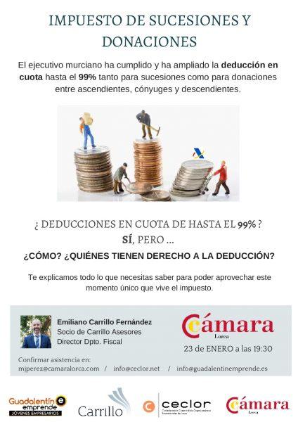 La Cámara de Comercio acoge una charla sobre la deducción del impuesto de Sucesiones y Donaciones