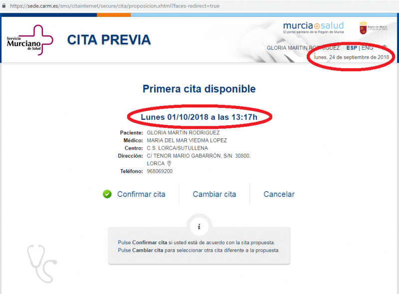 Denuncian retrasos de «hasta una semana» para ser atendido en el centro de salud Lorca-Sutullena