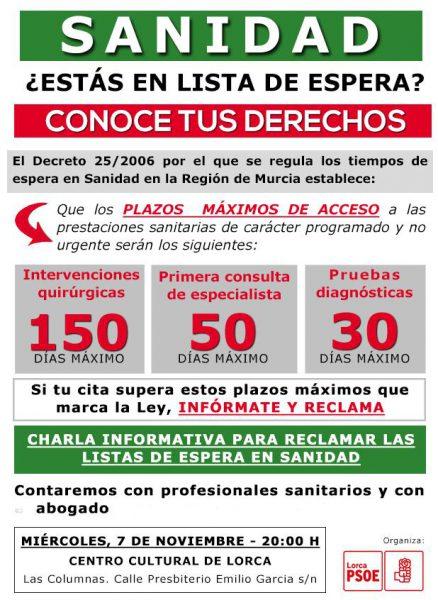 El PSOE asesorará a los lorquinos en lista de espera sobre cómo adelantar su cita médica