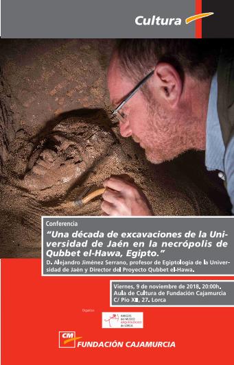El profesor de Egiptología, Alejandro Jiménez, hablará, en Lorca, sobre la necrópolis de Qubbet el-Hawa