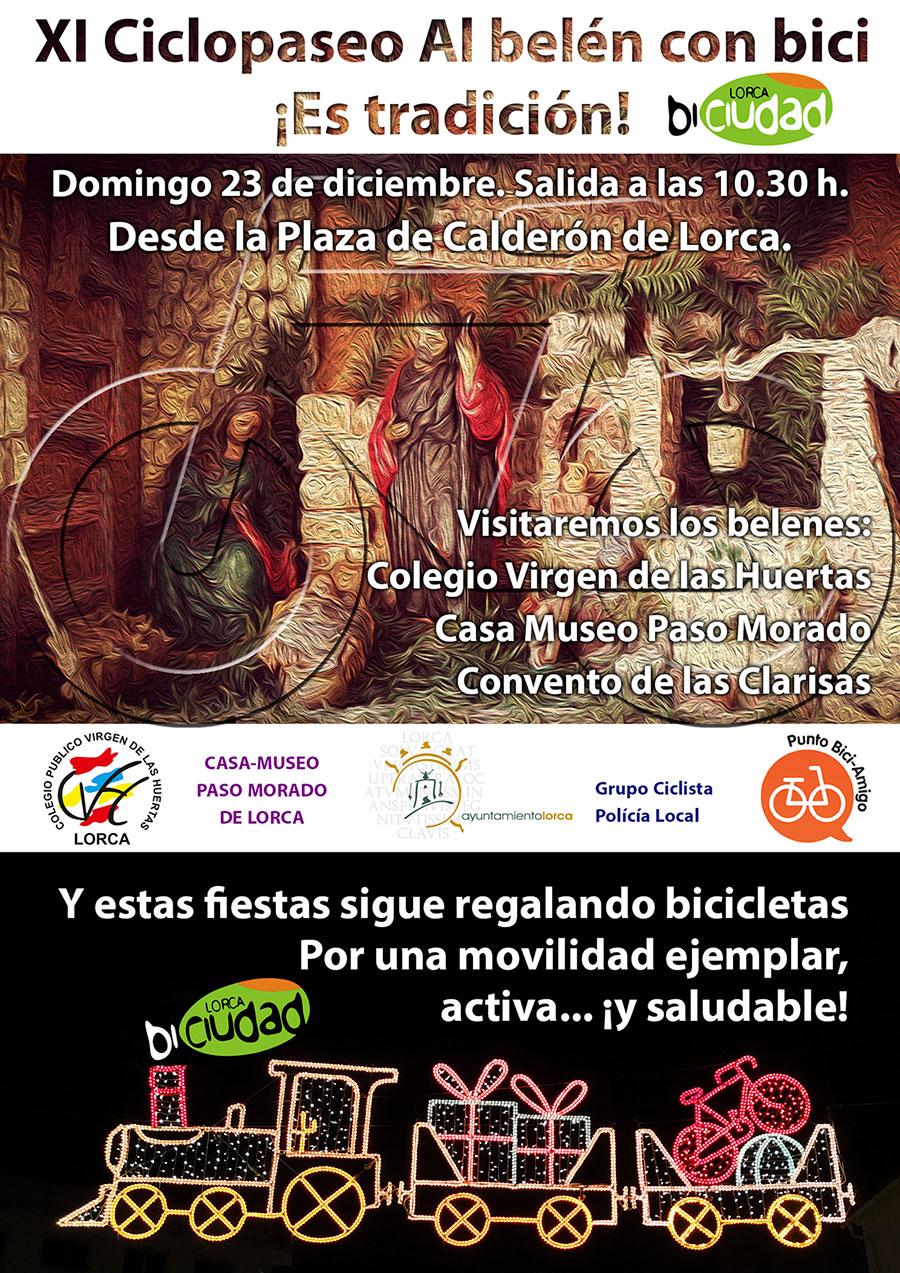 Lorca Biciudad organiza, para este domingo, su tradicional 'Ciclopaseo Al Belén con bici'